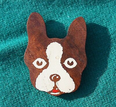 Beautiful Vintage Painted Hardwood BOSTON TERRIER Brooch Pin