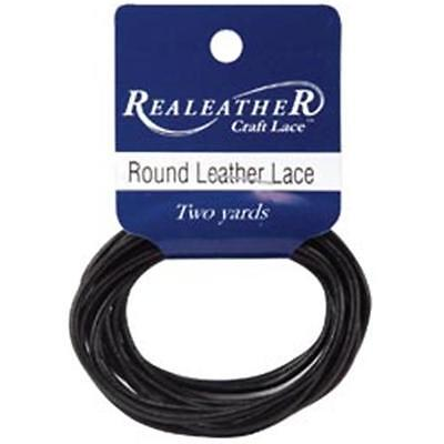 Silver Creek 308208 Round Leather Lace 2mm Carded 2 Yards-Black