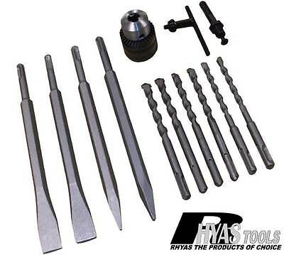 "SDS Drill Bit & Chisel Set Including SDS Chuck To 1/2"" Strait Shank Adapter"