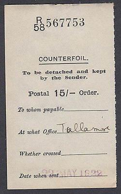 1922 Postal Order 15/- Counterfoil only