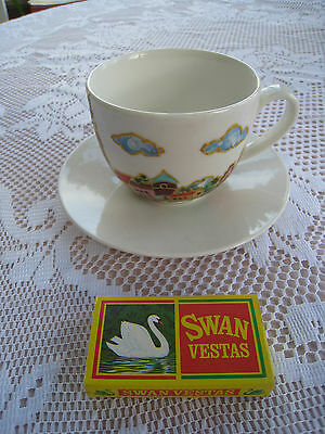 Breakfast Cup And Saucer Heavily Decorated With A Colourful Village Scene