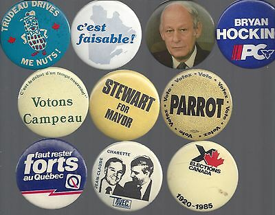 Vintage Canadian Political Campaign Buttons Canada - Group A