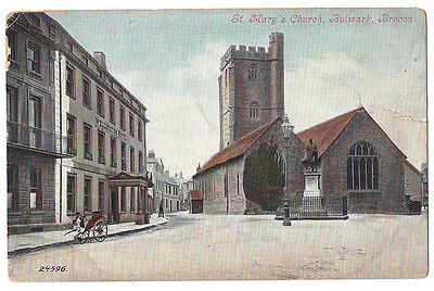 BRECON St Mary's Church, Bulwark Showing Wellington Hotel, Old Postcard Unused