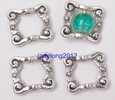 15pcs Tibetan Silver Charms Rectangle Spacer Beads Frame Jewelry 16X14MM C3111