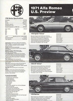 1971 Alfa Romeo 1750 Spider Veloce GT Berlina Specifications Brochure my8240