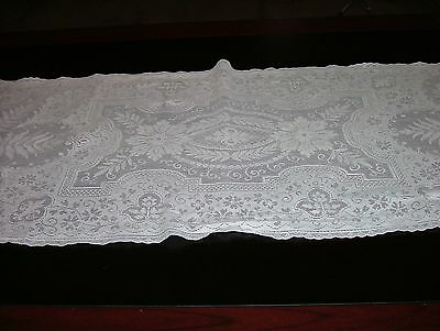 Vintage Filet Lace Runner/Dresser Scarf Tall Fronds Aster-Like Flowers Ornate