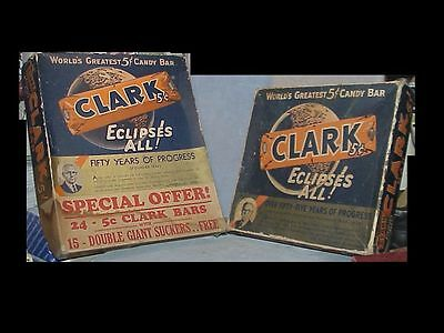 TWO vintage CLARK'S BAR Candy BOXES 1930s or 40s