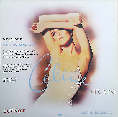 "CELINE DION Display Card All By Myself UK PROMO ONLY Rare 12"" x 12"" Poster"