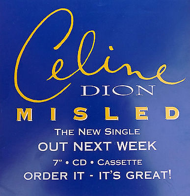 "CELINE DION Display Misled BLUE Out Next Week UK PROMO Rare 12"" x 12"" Poster"