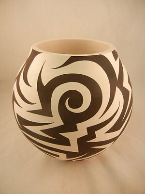 Native American Acoma Contemporary Tribal Design Jar by Eric Lewis