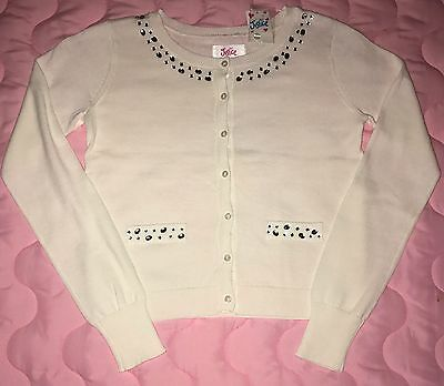 Justice Girl's Gem Applique Dress Cardigan in WHITE Size 12 NWT $29.90