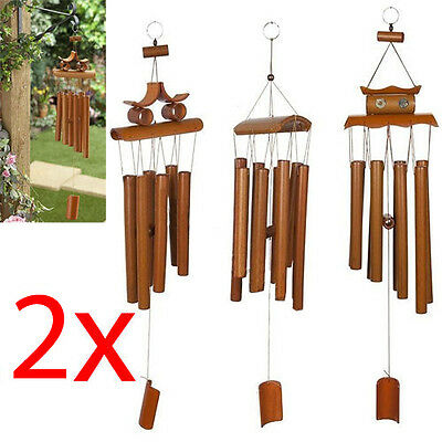2 X Hanging Bamboo Wind Chime Decorative Outdoor Ornament Garden Home Mobile New