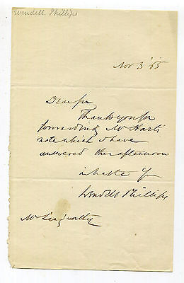 Wendell Phillips 1865 Autograph Letter Signed - Abolitionist