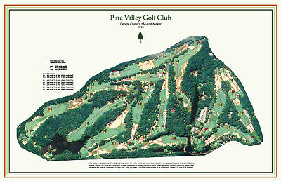 "Pine Valley   - Vintage Golf Course Maps print (30"" x 19"")"