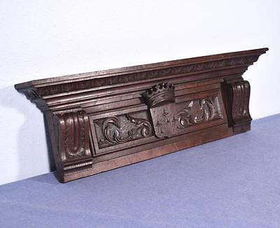 """*28"""" French Antique Hand Carved Oak Wood Crest Salvage Trim"""