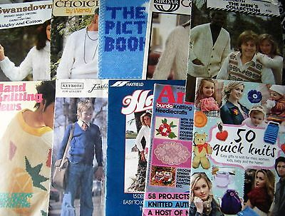 Lot Of 10 Assorted Knitting Pattern Booklets / Magazines, Mixed 1970's-Modern