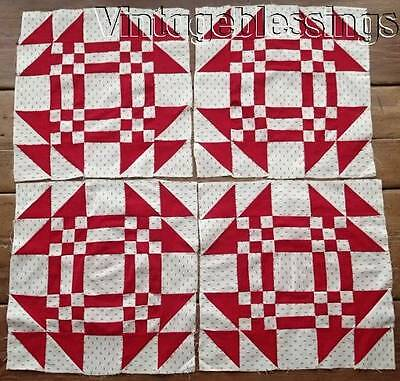 """ANTIQUE c1880 Set of 4 Large 15"""" Red White QUILT BLOCKS Young Mans Fancy"""
