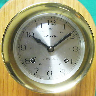 "CLOCK & STAND - Nautical - Mid-1990's Brass Key-Wind  5 Inch -- ""Airguide"""