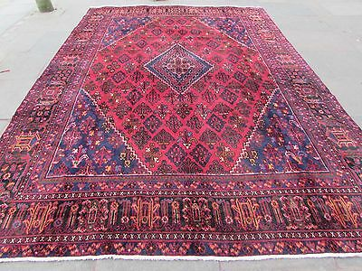 Old Traditional Hand Made Persian Oriental Wool  Dark Red Large Carpet 385x279cm