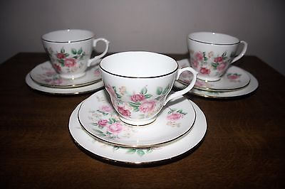 """Pretty Set Of 3 Duchess """"Pink Roses"""" Fine Bone China Cup/Saucer/Plate Trio's"""