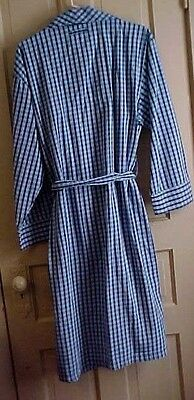 L / XL Mens Robe lightweight Blue checks 100% cotton 2 pockets