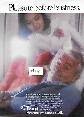 Thai International Business Before Pleasure Seattle/tokyo/bangkok 747B Ad