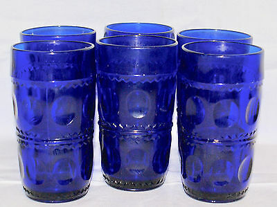 Set of 6 Indiana Glass Thumbprint Cobalt Blue Kings Crown Tall Drinking Glasses