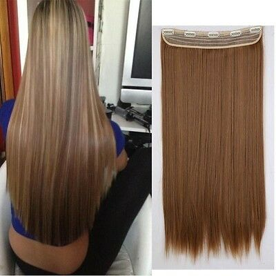 "New 26"" Straight Clip In Hair Extensions Hair Extension black mix light auburn"