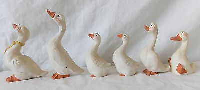 Vintage Folk Art Geese Goose Figurine Group of 6 Hand Painted   #4141