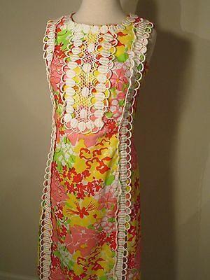 Vintage Lilly Pulitzer The Lilly Sleeveless Maxi Dress Pink Floral Lace S