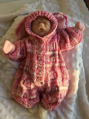 "Hand Knitted Bunny Outfit For 15"" Preemie Reborn Baby Doll"