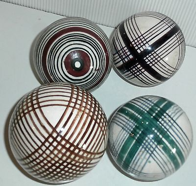 4  Antique Scottish Pottery Carpet Balls (Bowl) ..c1880 Tartan Plaid Pattern