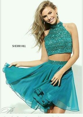 Sherri Hill homecoming short prom gown dress beaded teal 2 pc 50694 size 4/6