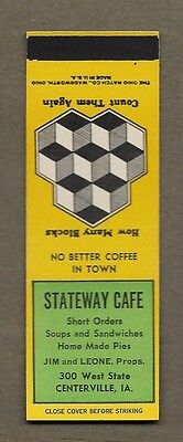 Stateway Cafe Centerville Iowa Flat Matchcover A468