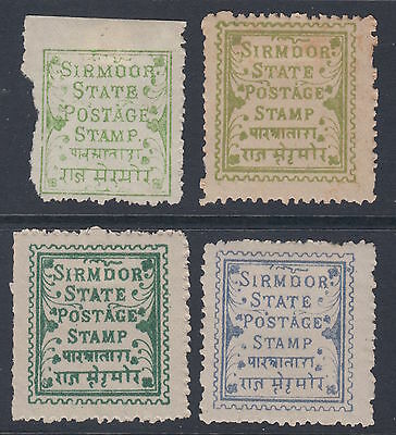 India Indian States - SIRMOOR (x4 unused) -including SG1