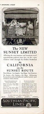 """Southern Pacific Lines """"Sunset Limited"""" 1924 ad from Saturday Evening Post (Mint"""