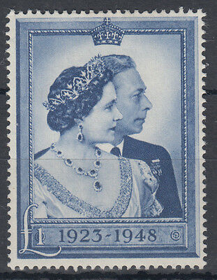 1948 KGVI Royal Silver Wedding £1 MM SG 494; Mounted Mint; see both scans