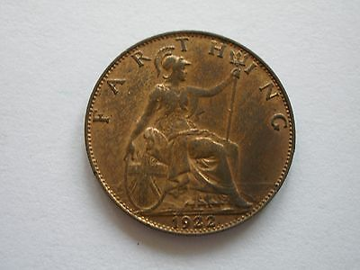 1922 George V Farthing - Gef With Lustre - Uk Post Free
