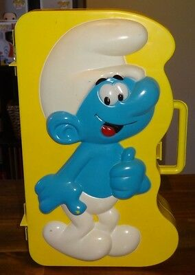 SMURF COLLECTOR'S FIGURINE CARRYING CASE Vintage Rare Display for 30 Smurfs 1983