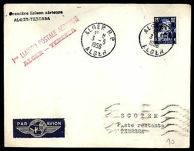 1956 Algeria Alger May 3Rd Air Mail To Tebessa Cover 1 Stamp