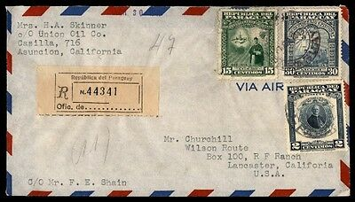 Paraguay registered in cover airmail to Lancaster California 1949