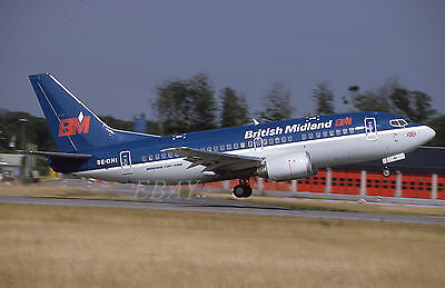 BRITISH MIDLAND BOEING 737 SE-DNI ORIGINAL civil aircraft 35mm slide dia