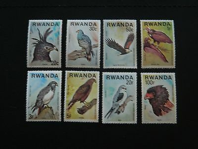 Rwanda Stamp SG 833/840 set of 8 Birds of Prey issued 1977 MNH values to 100f