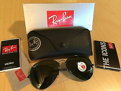 Authentic RAY BAN AVIATOR 3025 Aviator Black FRAME POLARIZED RB 3025 002/58 62MM