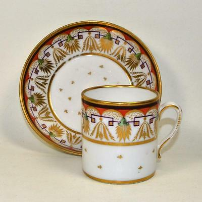 Early English Porcelain SPODE Minton Coffee Can / Cup and Saucer c. 1800