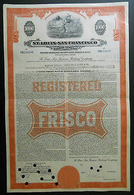 $1000 St. Louis - San Francisco Railway Co.(Frisco) bond / stock certificate
