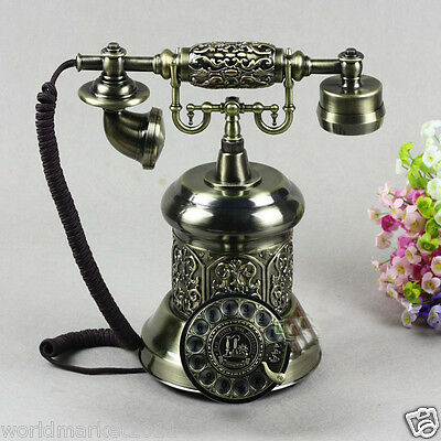 New European Style High Grade Resin Bronze Antique Ancient Dial Telephone.