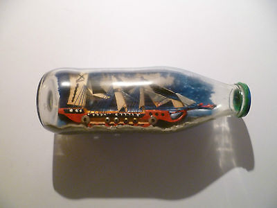 RED WOODEN SHIP IN A BOTTLE * 21.5 cm