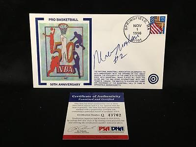 Moses Malone Sixers Signed Rare 1996 50Th Anniversary Fdc Cachet Psa/dna Q43762