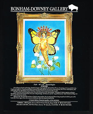 1989 Dennis Hughes Psyche Art Butterfly Vintage Color Print Gallery Ad